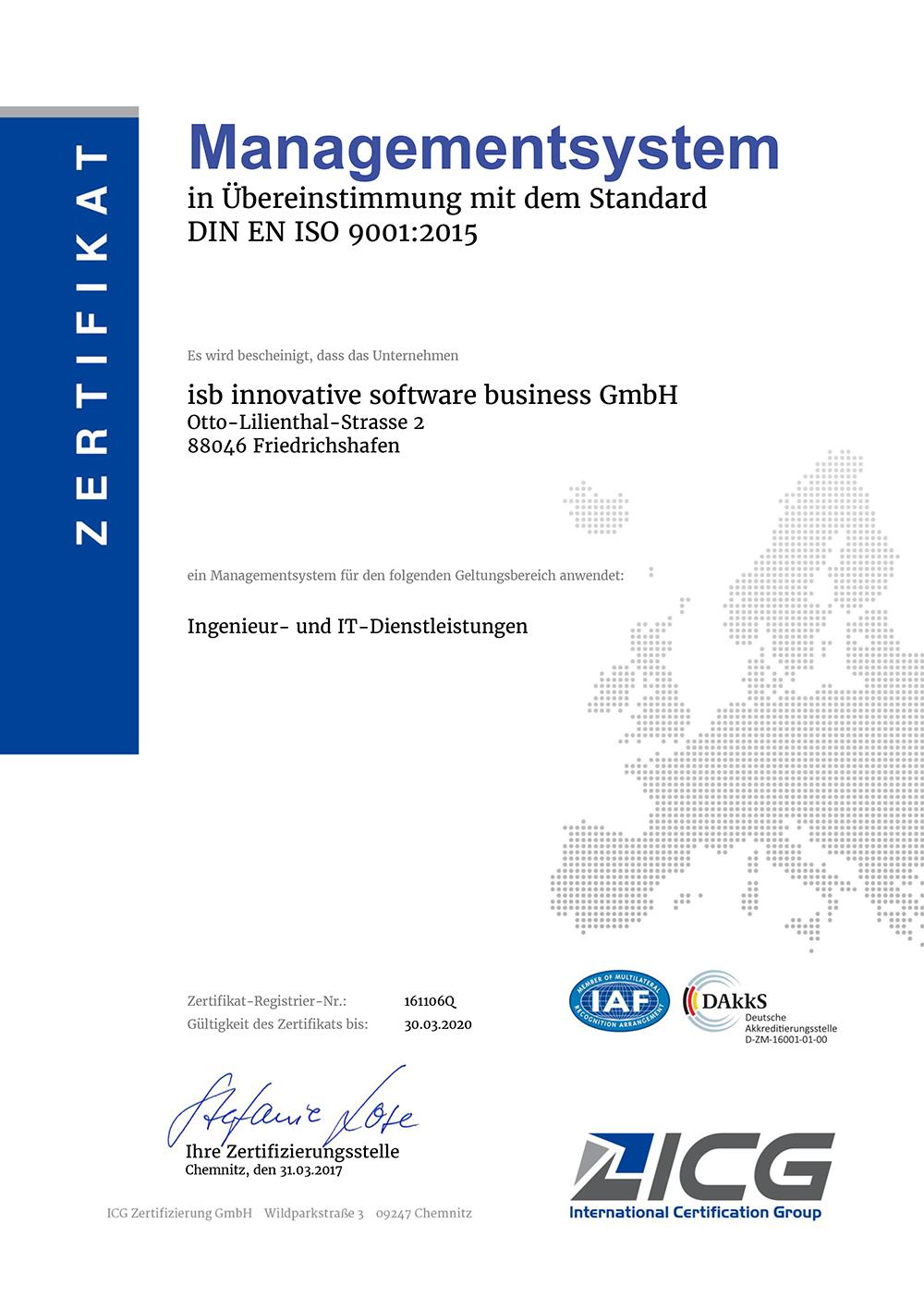 iso Zertifikat isb GmbH